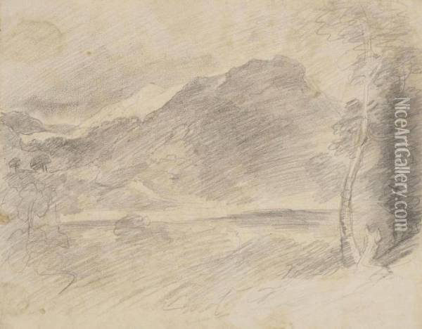 Constable, R.a. A Mountain Beyond A Lake, Probably Borrowdale Pencil 7½ X 9½ In Oil Painting - John Constable