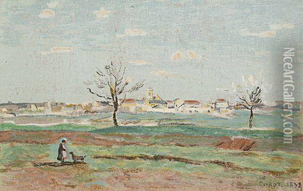 Paysage Anime Oil Painting - Jean-Baptiste-Camille Corot
