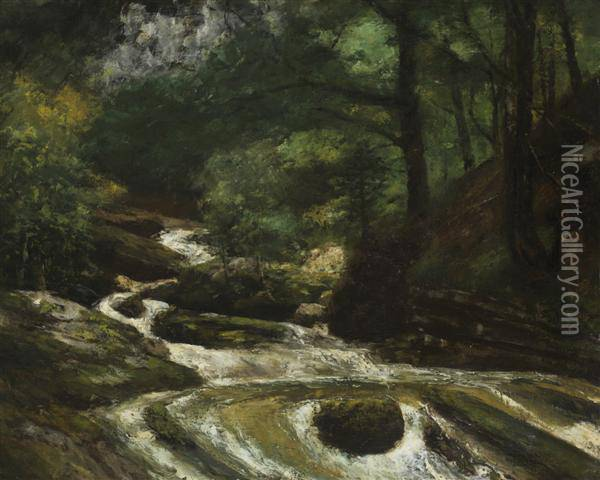 Ruisselet A Gruyeres, Suisse Oil Painting - Gustave Courbet