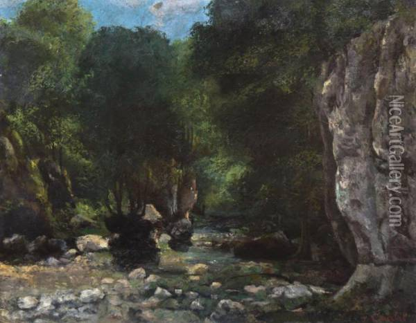 Stream Through The Woods Oil Painting - Gustave Courbet