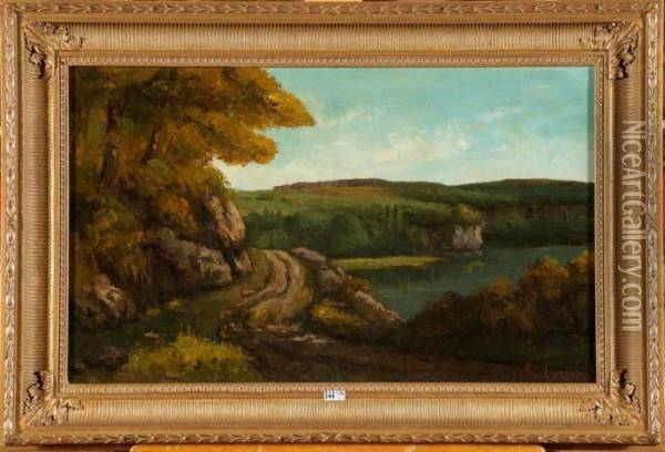 Paysage A La Riviere Oil Painting - Gustave Courbet