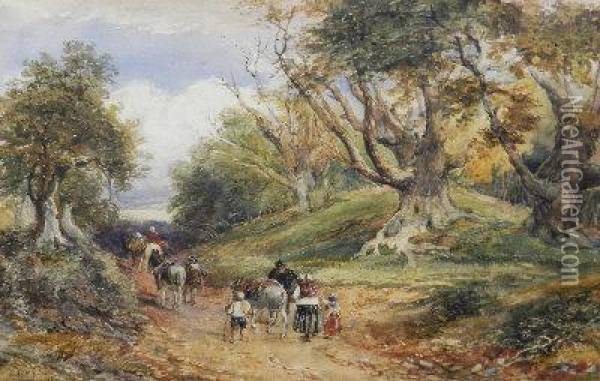 Travellers On A Woodland Road Oil Painting - David Cox