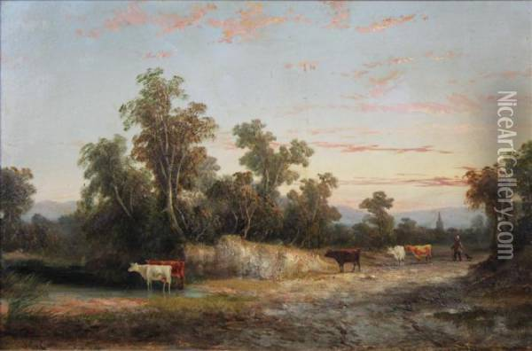 Cattle In Landscape Oil Painting - John Crome