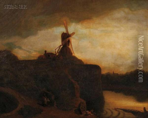 The Windmill Oil Painting - John Crome