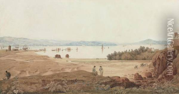 A Panoramic View Towards Star Cross And Powderham From Near The Globe Inn Oil Painting - Francis Danby
