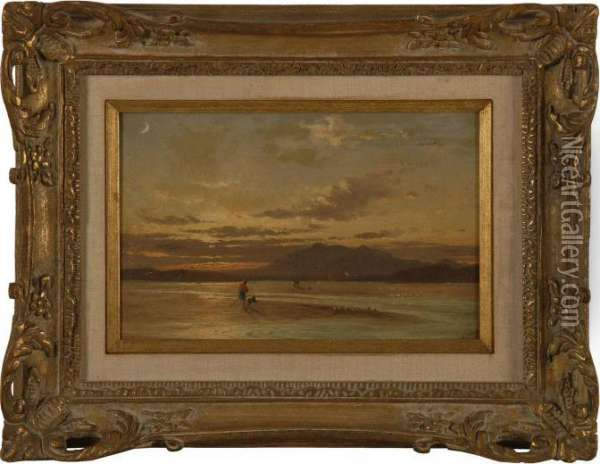 Sunset On The Beach. Oil Painting - Francis Danby