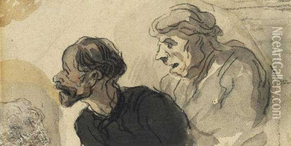 The Heads Of Two Me Oil Painting - Honore Daumier