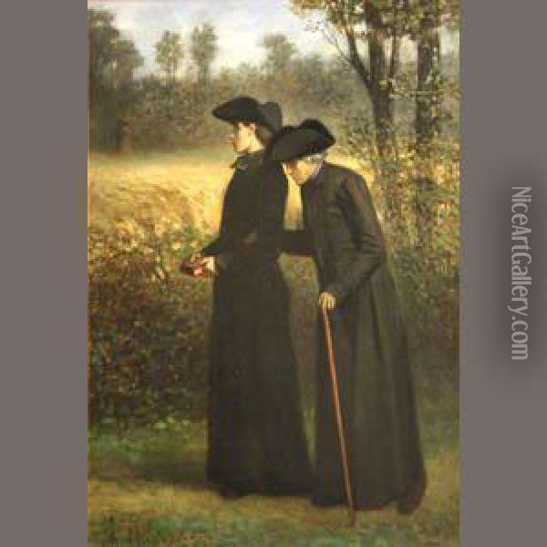 An Afternoon Walk Oil Painting - Charles de Groux