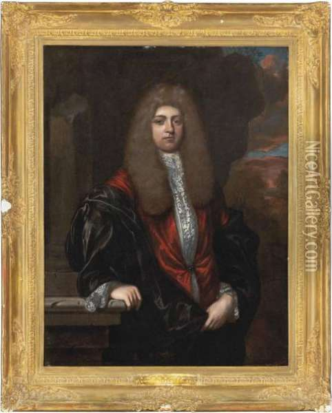 Portrait Of A Gentleman,  Three-quarter-length, In A Red Coat And Black Robe, In A Landscape Oil Painting - Regnier de La Haye