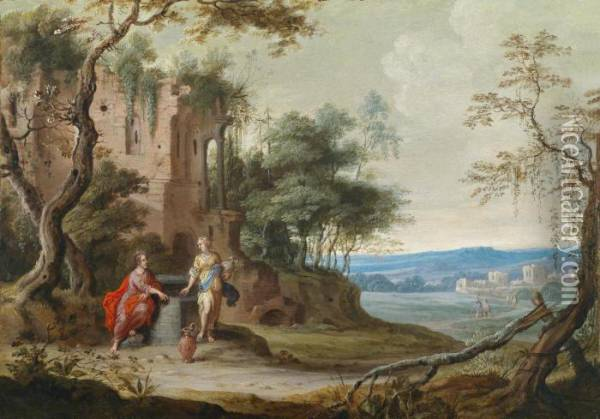 Christ And The Woman Of Samaria At The Well Oil Painting - Geeraert De Lavallee