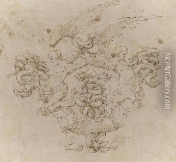 A Cartouche In The Form Of Two  Mermen With Intertwined Tails Supporting Harpies Whose Wings Support An  Eagle, With Pairs Of Writhing Serpents At Either Side And With A Group  Of Four Intertwined Serpents In The Centre Oil Painting - Stefano della Bella