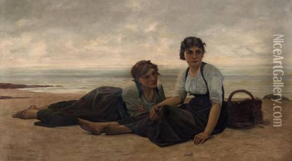 Zwei Junge Frauen Am Strand Oil Painting - Francois Alfred Delobbe