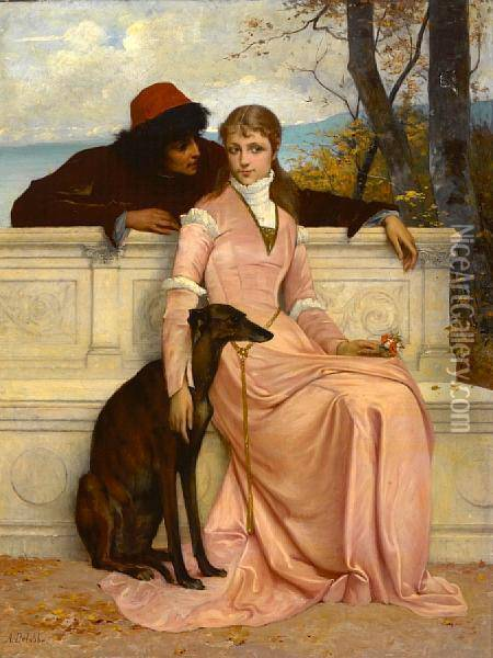 Tete-a-tete Oil Painting - Francois Alfred Delobbe