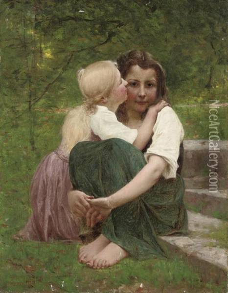 Sisterly Love Oil Painting - Francois Alfred Delobbe
