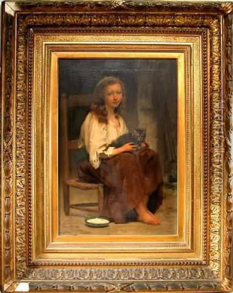 Portrait Of A Young Country Girl  In A Cane-seat Chair With A Cat In Her Lap, Pan Of Milk On The Floor Oil Painting - Francois Alfred Delobbe