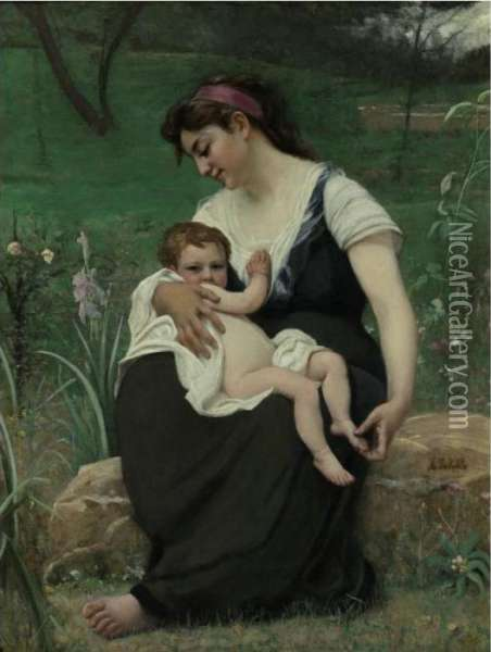 Maternal Pride Oil Painting - Francois Alfred Delobbe