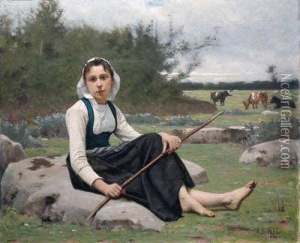 Shepherdess Oil Painting - Francois Alfred Delobbe