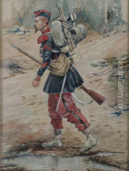 Soldier Oil Painting - Jean Baptiste Edouard Detaille