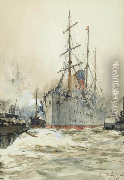 'en Route': A Liner Under Tow Leaving The Dockside Oil Painting - Charles Edward Dixon