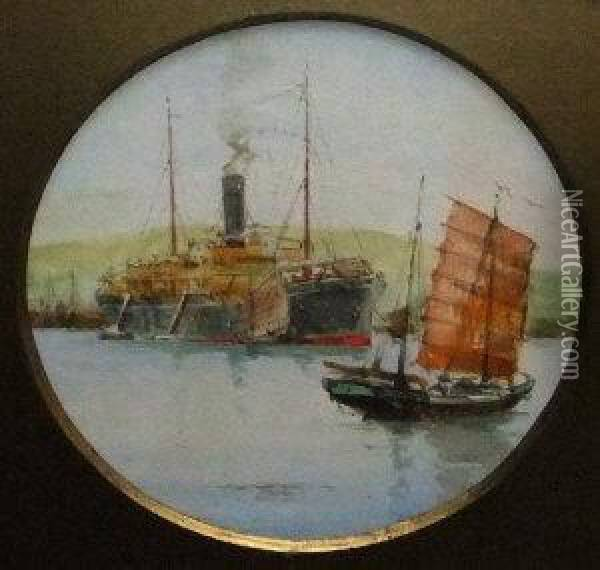 Steamer By A Harbour With Two Chinese Junks And A Frigate And Paddle Steamer At Sea Oil Painting - Charles Edward Dixon