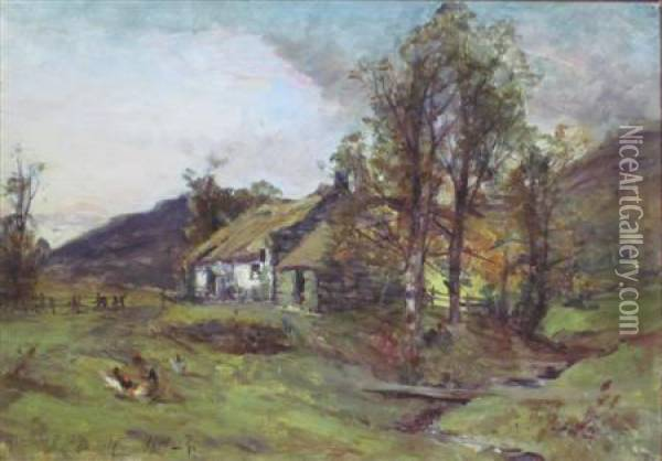 Chickens Outside A Croft Oil Painting - John Milne Donald