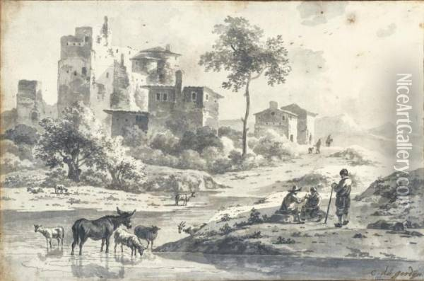 Italian Landscape With Herdsmen And Animals By A Stream Oil Painting - Karel Dujardin