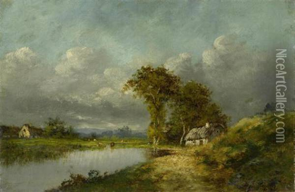 River Landscape With A Hut Oil Painting - Jules Dupre