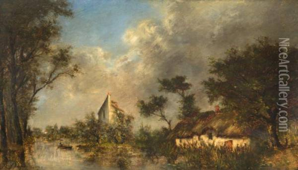 Riviere Bordee De Chaumieres Oil Painting - Jules Dupre