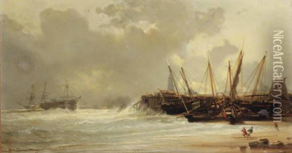 Fishing Vessels Moored On A Beach Oil Painting - Jean Baptiste Henri Durand-Brager