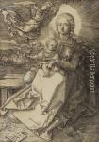 Virgin And Child With Angel Oil Painting - Albrecht Durer
