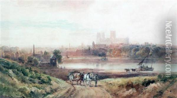 Durham Cathedral From The River Oil Painting - Henry Earp