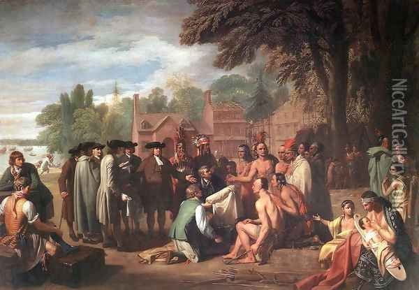 The Treaty of Penn with the Indians 1771-72 Oil Painting - Benjamin West