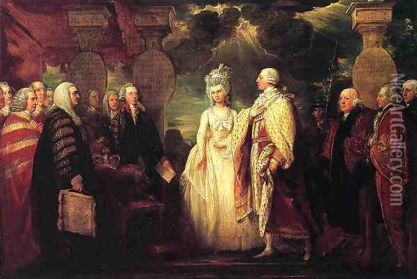 His Majesty George III Resuming Power Oil Painting - Benjamin West