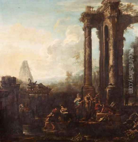 A capriccio of classical ruins Oil Painting - John Wootton