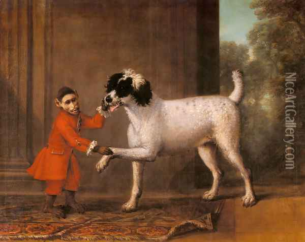 A Favorite Poodle And Monkey Belonging To Thomas Osborne, The 4th Duke of Leeds Oil Painting - John Wootton