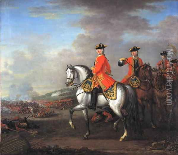 King George II (1683-1760) at the Battle of Dettingen, with the Duke of Cumberland and Robert, 4th Earl of Holderness, 27th June 1743, c.1743 Oil Painting - John Wootton