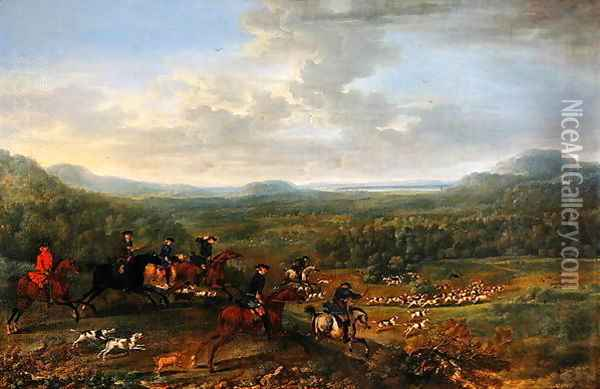 A Fox Hunt, c.1730-40 Oil Painting - John Wootton
