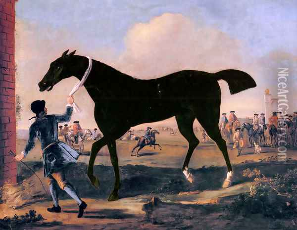 The Duke Of Rutland's Bonny Black Held By A Groom At Newmarket Oil Painting - John Wootton