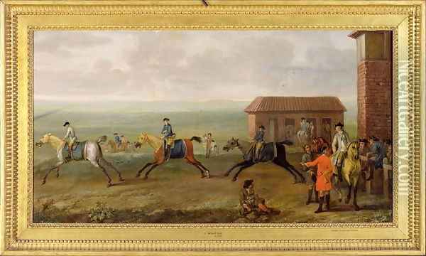 Lord Portmore Watching Racehorses on Exercise on Newmarket Heath, c.1735 Oil Painting - John Wootton