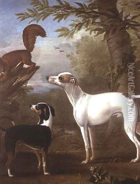 Two Sporting Dogs Attracted by a Squirrel on a Tree Stump Oil Painting - John Wootton