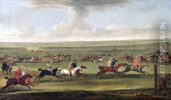 A race on the beacon course at Newmarket, c.1750 Oil Painting - John Wootton