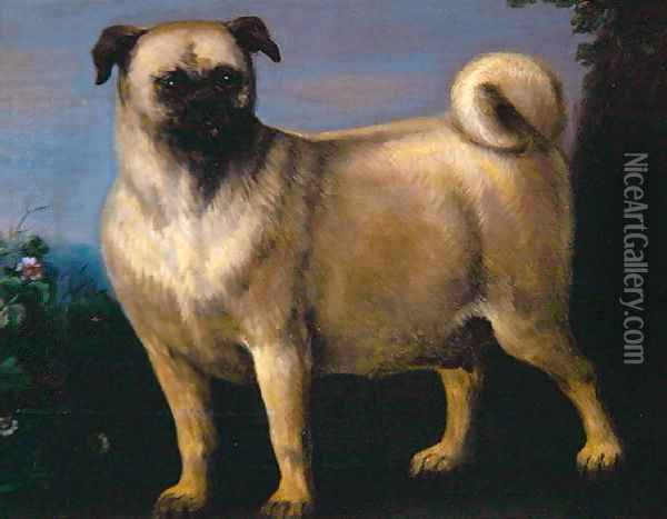 A Pug in a Landscape Oil Painting - John Wootton