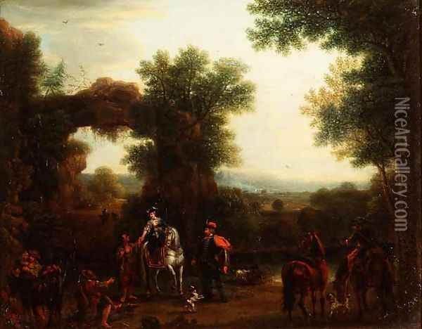 A hunting party giving alms to gypsies in a wooded river landscape Oil Painting - John Wootton