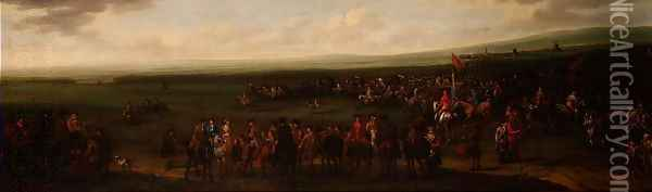 The Round Course at Newmarket Oil Painting - John Wootton