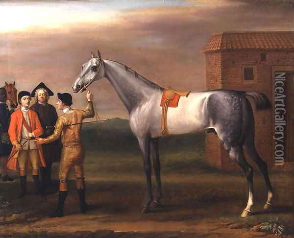 Lamprey, with his owner, Sir William Morgan, at Newmarket, 1723 Oil Painting - John Wootton