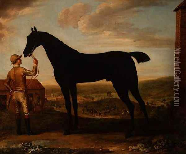 Basto, dark bay racehorse held by groom outside the stable at Newmarket Oil Painting - John Wootton