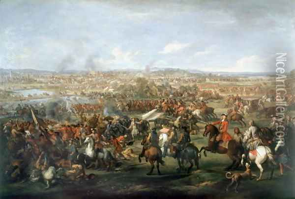 The Battle of Blenheim on the 13th August 1704, c.1743 2 Oil Painting - John Wootton