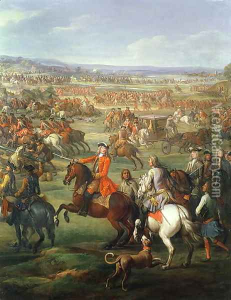 The Battle of Blenheim on the 13th August 1704, c.1743 Oil Painting - John Wootton