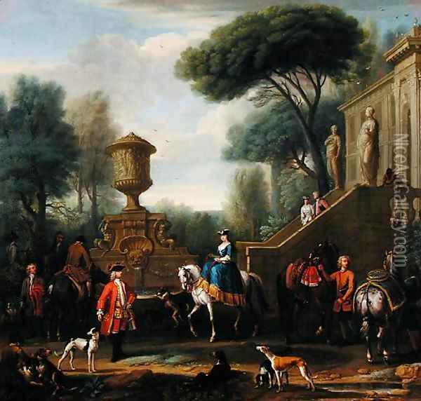 Preparing for the Hunt, c.1740-50 Oil Painting - John Wootton