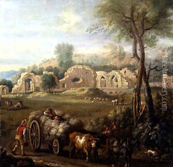 Haycart Passing a Ruined Abbey, c.1740-50 Oil Painting - John Wootton
